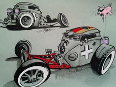 Chris Clark rendering of one wickedly cool bus/dragster. May be the greatest idea for a rat rod yet!
