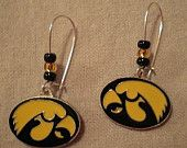 Iowa Hawkeye dangle earrings