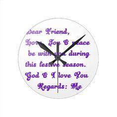 Customize Product #Round #Wallclocks #Dear #friend #God and I  #Love #You Customize Product #Post #Cards #Peace #Love #Joy #Abundance #Hakuna #Matata #Gifts