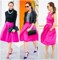 Sydne Style how to wear a full midi skirt hot pink express outfit inspiration fashion blogger what to wear