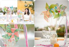 paper pinwheel wedding centerpieces for kids table!