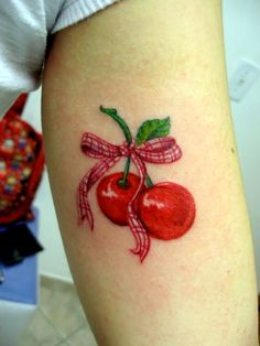 Sweet Cherry Tattoo. For more visit www.tattooenigma.com