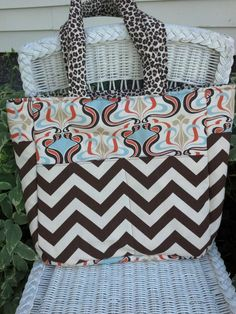Leopard  Print  chocolate Chevron Diaper Bag by Corrinabella, $55.00