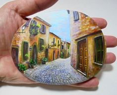 Rock Painting Landscape Old Narrow Street On A by RockArtAttack