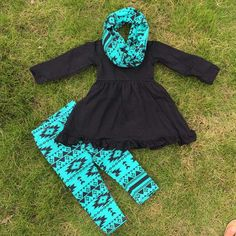 Girls Blue Aztec Fall/Winter Outfit with Scarf