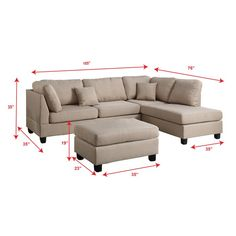 Experience simplicity with this 3-piece sectional with a matching ottoman. Upholstered in a plush linen-like fabric, this sectional features cushioned pillow back and seat support for maximum comfort, and works perfect in a contemporary or classic styled living room.
