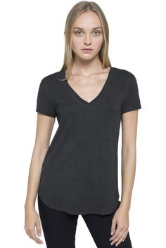 The Banded T-Shirt is a classic V-Neck tee. Comes in a Dark Charcoal Heather and falls slightly longer in the back. Available in Dark Charcoal Heather Style T27 V-neck tee women's clothing junior's clothing longer in the back