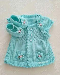 Hermoso chaleco de bebe color turqueza con botines y cintillo. [] #<br/> # #Tissues,<br/> # #Tric<br/>
