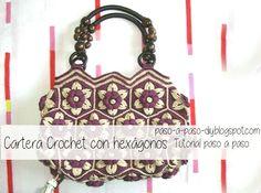 Tutorial en imágenes de cartera crochet con grannys hexagonales en dos colores