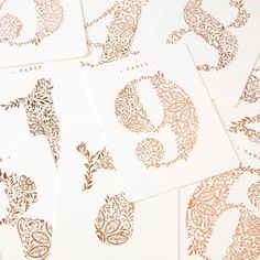 Rose Gold Table Numbers (Set of 9)