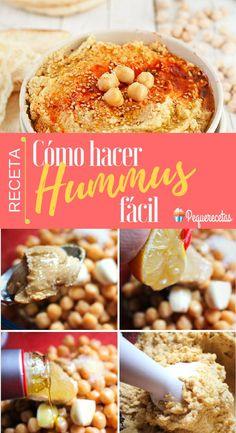 como hacer hummus Dip Recipes, Cooking Recipes, Healthy Recipes, Hummus Recipe, Finger Foods, Food Porn, Paleo, Nutrition, Sweets