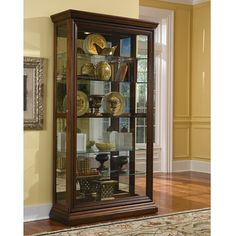 The Edwardian Sliding Door Curio and Display Cabinet by Pulaski Furniture is a beautiful display piece, crafted of sturdy hardwood solids and veneers in a rich Handmade Furniture, Furniture Sale, Rustic Furniture, Kitchen Furniture, Furniture Ideas, Pallet Furniture, Furniture Dolly, Steel Furniture, Furniture Inspiration