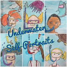 Second graders loved Robert Wyland so much that we did two projects inspired by him. Out first was Warm and Cool Waves, the second were these AWESOME underwater self-portraits inspired bythis,thisA