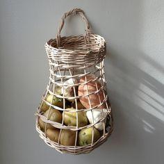 Clyde Oak hanging woven root basket
