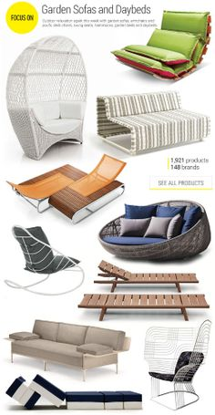 #garden #sofas and #daybeds - #outdoor relaxation again this week with garden sofas, armchairs, poufs, deck chairs, swing seats, hammocks, garden beds, and daybeds.
