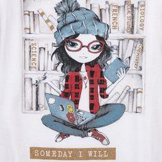 Girls Short Sleeve Glitter 'Someday I Will Change The World' Laptop Girl Graphic…