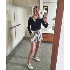 stripe ganni shorts + belt + club monaco black long sleeve top + classic white supergas