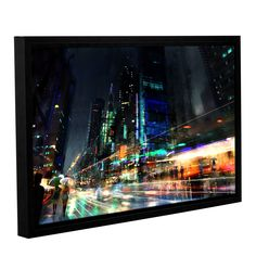 Night City 3 by Philip Straub Gallery-Wrapped Floater-Framed Canvas