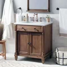 Neeson Vanity for Semi-Recessed Sink - Rustic Brown - Bathroom 30 Vanity, Master Bathroom Vanity, Vessel Sink Vanity, Brown Bathroom, Wood Vanity, Vanity Cabinet, Oak Bathroom, Bathroom Colors, Bathroom Ideas