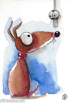 ACEO-Original-watercolor-whimsical-painting-illustration-art-dog-puppy-spider