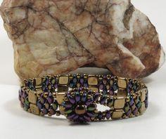 SUPERDUO CZECHMATE TILE Bracelet - Purple Iris SuperDuos - Bronze Tiles - Antique Bronze Seed Beads - Beaded Flower Button - (SD120) by CinfulBeadCreations on Etsy