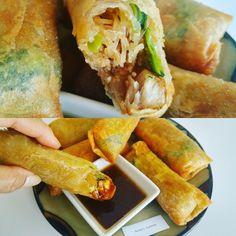 Filipino Pancit Lumpia (Egg Rolls) served with savory sauce Filipino Pancit, Lumpia, Egg Rolls, Hot Dog Buns, Anna, Yummy Food, Bread, Ethnic Recipes, Kitchens