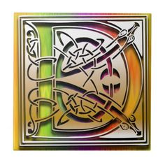 """D Monogram Tile """"Celtic Rainbow"""" design. 4.25"""" and 6"""" square sizes, glossy finish. premium quality. Accent any room in your home and office with a tile inlay decorative box, trivet, or make it a part of your tile works projects. Use single initials, create a monogram or spell out your favorite quote.    http://www.zazzle.com/d_celtic_rainbow_custom_monogram_tile-227559973166392354?rf=238301468915483943 #Monograms #Tiles #Celtic #Rainbow #DecorativeBoxes #HomeDecor #MonogramTiles"""