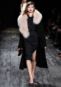 Nina Ricci Fall 2012  Love the light pink fur, black outfit and deep red lips combined