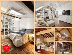 Oggi va così, una mansarda, pavimenti e soffitti in legno chiaro, tanto bianco e tanta luce. Oggi siamo luminose dentro!