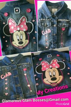 Cute Outfits For Kids, Cute Kids, Minnie Mouse Jacket, Mickey Shoes, Minnie Mouse Birthday Outfit, Advent Calendars For Kids, Jean Jacket For Girls, Bow, Painted Clothes