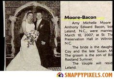 House/Reckker, Rather/Grim and Partee/Moore: Hilarious wedding announcements from couples with unfortunate surnames Funny Names, Cool Names, Funny Signs, Wedding Name, Wedding Humor, Wedding Dress, Bacon Funny, Bacon Bacon, Bacon Jokes