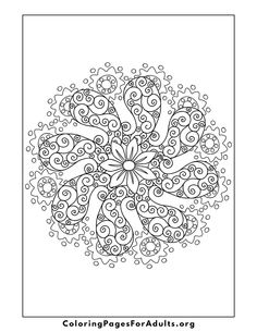 Free Adult Coloring Pages Coloring Pages For Grown Ups, Spring Coloring Pages, Free Adult Coloring, Cool Coloring Pages, Flower Coloring Pages, Mandala Coloring Pages, Printable Coloring Pages, Coloring Sheets, Coloring Books