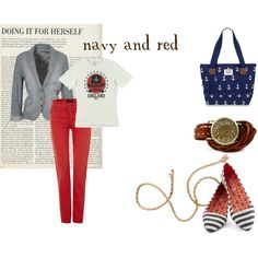"""""""navy and red"""" by culimanna on Polyvore"""