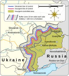 Map of Novorossiya, as agreed by the Minsk Protocol signed in September 2014 which purported to act as a ceasefire between Ukraine and separatists in the War in Eastern Ukraine.