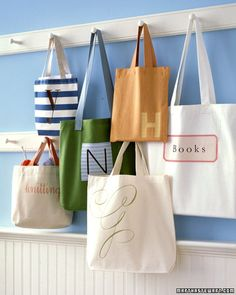 "I want to make the ""books"" bag and the ""knitting"" bag.... Now to find some bags!"