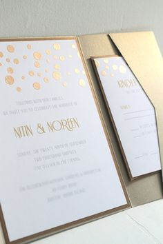 Glamourous Gold Confetti Custom Pocketfold by GoldenSilhouette