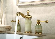 Find More Basin Faucets Information about Antique Gold Plating  Jade Body Three Hole Two Handle Bathroom Sink Faucet with Barss Handle,High Quality faucet fix,China sink faucet manufacturers Suppliers, Cheap faucet bathroom sink from unitary home world on Aliexpress.com