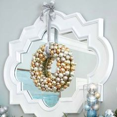 Mixed metallics make a modern holiday color scheme. More sparkling silver holiday decor: http://www.bhg.com/christmas/indoor-decorating/sparkling-silver-holiday-decor/?socsrc=bhgpin111312metallicwreath