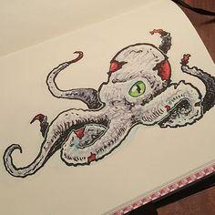 He's seen better days.  #nakedeyestudio #sketch #sketchbook #drawing #austinartist #austinart #octopus #octopusart #seamonster #illustration