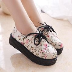 sapatos femininos 2014 New HARAJUKU style women's shoes vintage lace up flower print creepers platform women flats shoes -in Flats from Shoes on Aliexpress.com | Alibaba Group