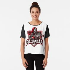 'I'm The Alpha Chiffon Top by CavemanMedia Alpha Apparel, Work From Home Moms, Mom And Dad, Chiffon Tops, Printed, Lady, Awesome, Fabric, Sleeves