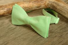 SALE 30% OFF Bow Tie Mint Green Cotton  /  Bow Tie Mint Green  / Classic Bow Tie / Wedding Bow Tie - $9.70 USD