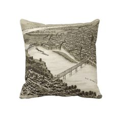 Vintage Pictorial Map of Laredo Texas (1892) Pillow from Zazzle.com $62.40