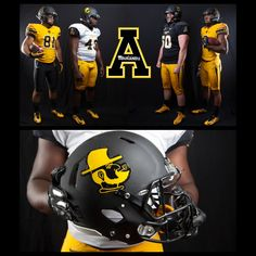 Appalachian State unveiled their new uniform combinations today along with new alternate helmet designs.  App State will have three different helmet designs in 2015 — one featuring its traditional Block A logo, one with its secondary Victory Yosef logo and a third featuring the Block A logo emblazoned with Stars and Stripes, which will be worn for Heroes Day on Nov. 5 versus Arkansas State.  #FootballHelmetDecals #FootballDecals #CustomHelmetDecals #HelmetDecals #StarsAndStripes #HelmetSwag