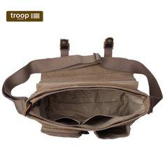 TRP0270 Troop London Heritage Large Canvas Messenger Bag ║ H28 x favourite design but don't like plasticy inside W36 x D15cm
