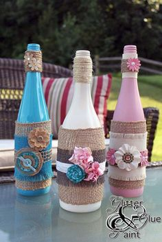 DIY Projects with Burlap and Creative Burlap Crafts for Home Decor, Gifts and More | Burlap Wrapped Tiki Wine Bottles |  http://diyjoy.com/diy-projects-with-burlap