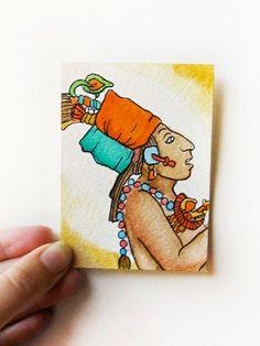 Watercolor Mayan illustration