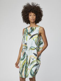 Buy Thought Green Garabina Dress from the Next UK online shop Botanical Fashion, Cocoon Dress, Banana Print, Short Sleeve Dresses, Dresses With Sleeves, Friend Outfits, Vintage Inspired Dresses, House Dress, Comfortable Outfits