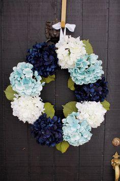 Navy Blue and Aqua Hydrangea Spring Door Wreath  by WreathIt2Me, $85.00