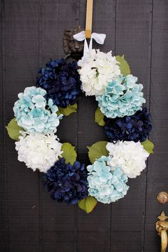 Navy Blue and Aqua Hydrangea Spring Door Wreath  by WreathIt2Me, $85.00